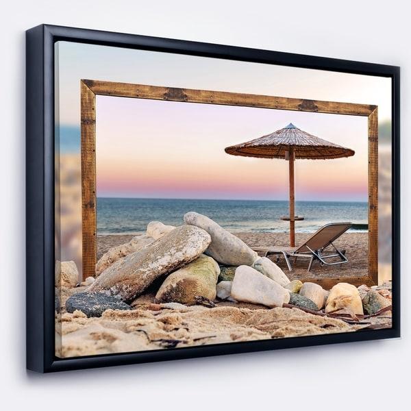 Designart 'Framed Effect Beach Seating' Seashore Framed Canvas Art Print
