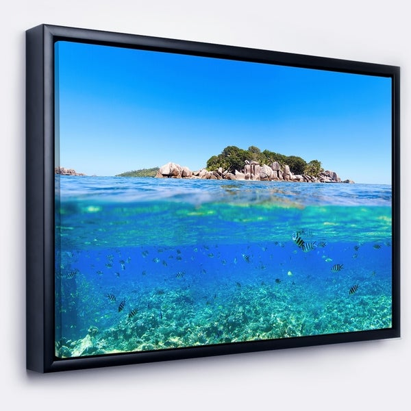 Designart 'Under and Above the Waters' Seascape Framed Canvas Art Print