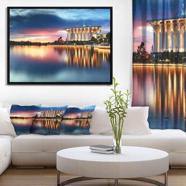 Designart 'Iron Mosque Malaysia Panorama' Seashore Photo Framed Canvas Print
