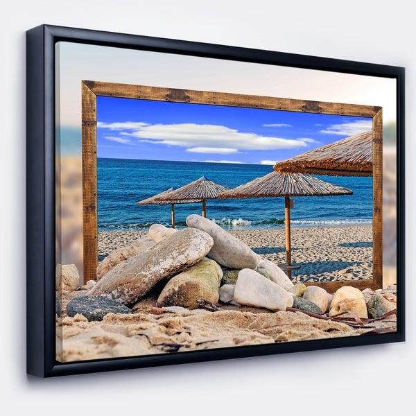 Designart 'Framed Effect Beach Umbrellas' Seashore Framed Canvas Art Print