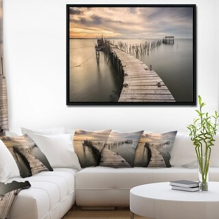 Designart 'Carrasqueira Old Wooden Pier' Seashore Photo Framed Canvas Art Print