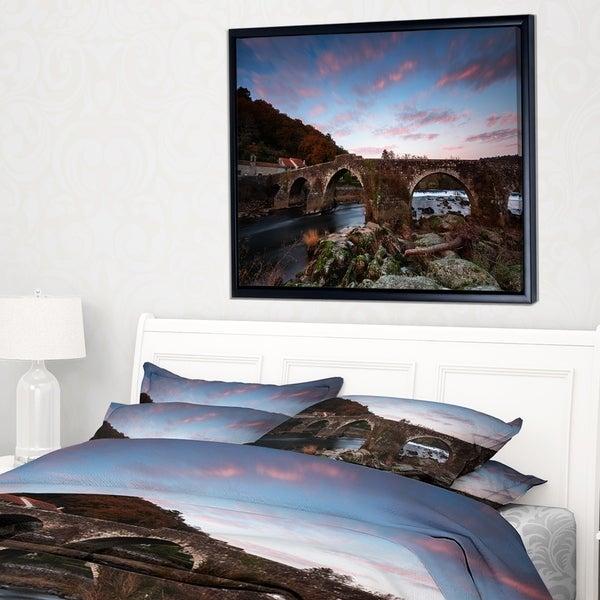 Designart 'Old Roman Bridge in Spain' Landscape Photo Framed Canvas Art Print