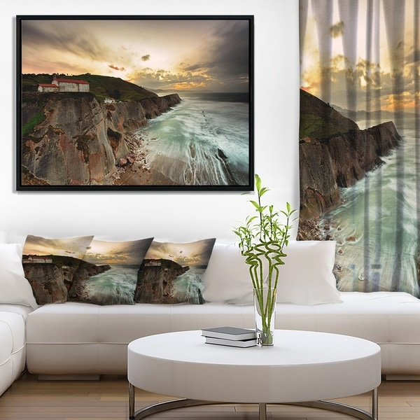 Designart 'Ocean Hitting Rocky Hill' Seashore Photo Framed Canvas Art Print