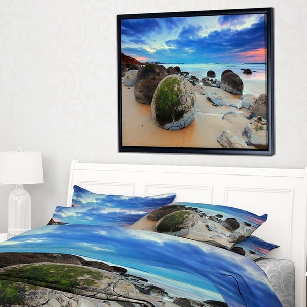 Designart 'Cloudy Sunrise Over Moeraki Boulders' Seashore Photo Framed Canvas Print