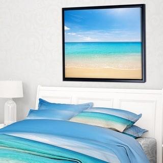 Designart 'Bright Blue Tropical Beach' Seashore Photo Framed Canvas Art Print