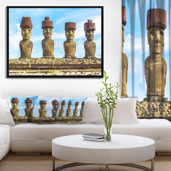 Designart 'Moai with Red Topknot Hat' Portrait Photo Framed Canvas Art Print