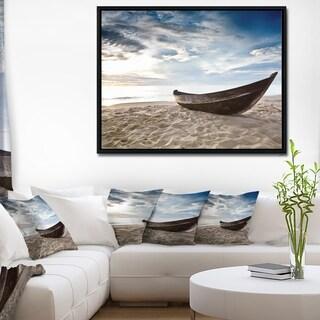 Designart 'Old Fisherman Boat' Seashore Photography Framed Canvas Art Print