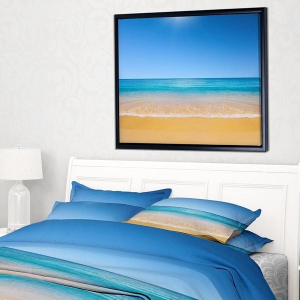 Designart 'Dark View of Tropical Beach' Seashore Photo Framed Canvas Print