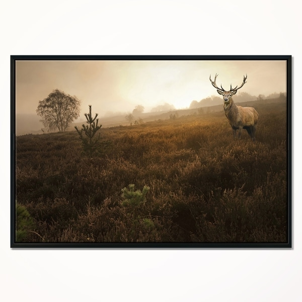 MASSIVE photo landscape art  A0 CANVAS PRINT deer stag elk tree sunset painting