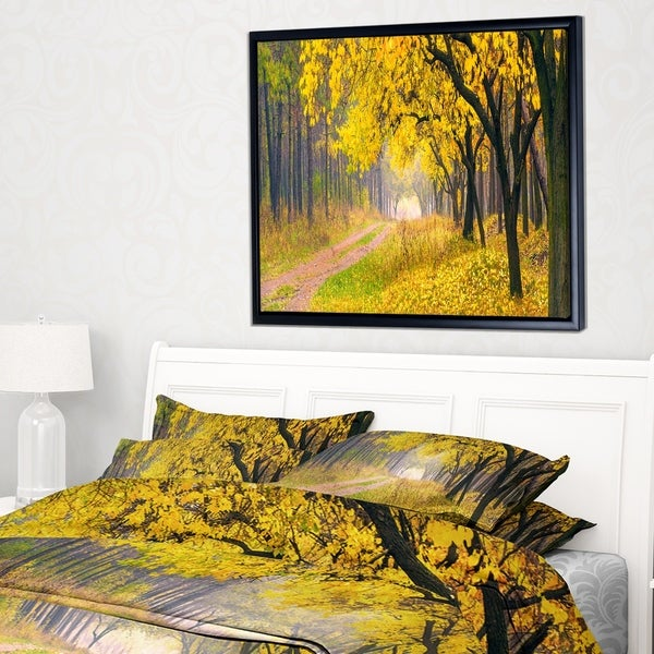 Designart 'Bright Yellow Autumn Forest' Landscape Photo Framed Canvas Art Print