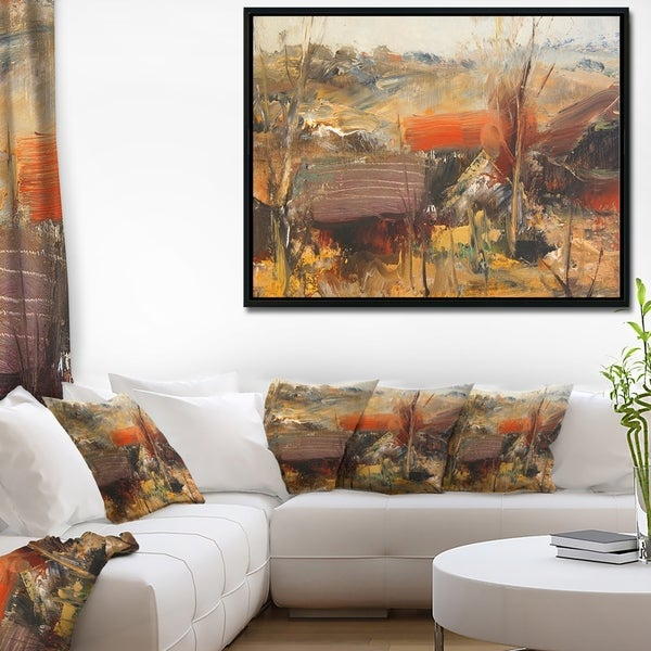 Designart 'Brown Roofs Heavily Textured' Landscape Painting Framed Canvas Art Print
