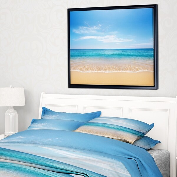 Designart 'Calm Blue Sea and Sky' Seashore Photography Framed Canvas Print