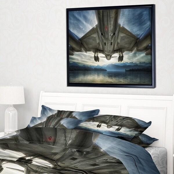 Designart 'Plane Over Beach and Sea' Seashore Photography Framed Canvas Print