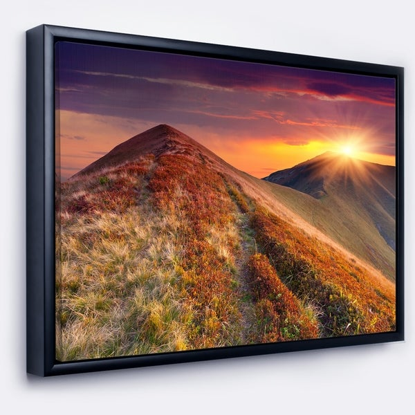 Designart 'Autumn Hills with Colorful Grass' Landscape Photography Framed Canvas Print