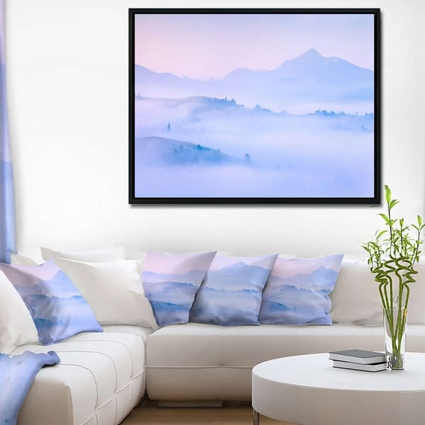Designart 'Silhouettes of Morning Mountains' Landscape Photography Framed Canvas Print