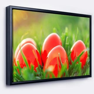 Designart 'Red Easter Eggs in Green Grass' Landscape Photography Framed Canvas Print