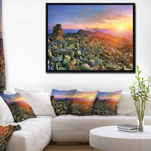 Designart 'Bright Sun in Carpathian Mountains' Landscape Photography Framed Canvas Print