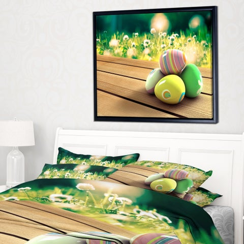 Designart 'Yellow Green Easter Eggs' Landscape Photo Framed Canvas Art Print