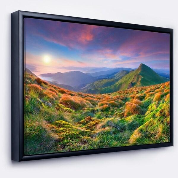 Designart 'Purple Sky and Green Mountains' Landscape Photo Framed Canvas Art Print