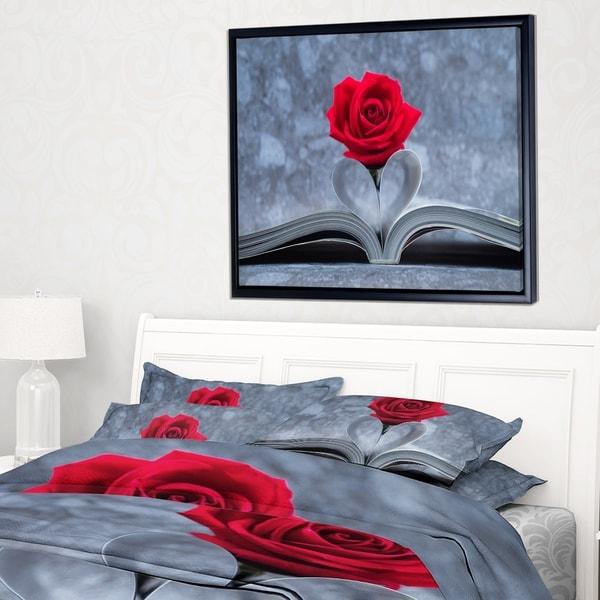 Designart 'Red Rose Inside the Book' Floral Art Framed Canvas Print