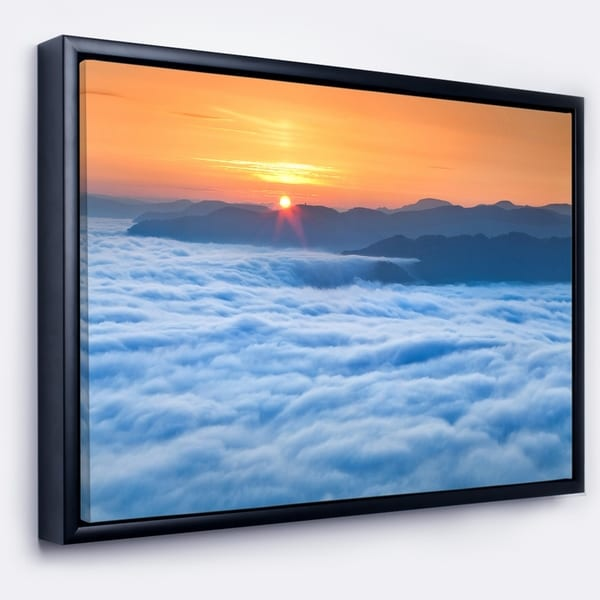 Designart 'Sunrise Over Misty Sea Waters' Landscape Photography Framed Canvas Print