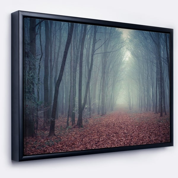 Designart 'Retro Style Misty Path in Forest' Landscape Photography Framed Canvas Print