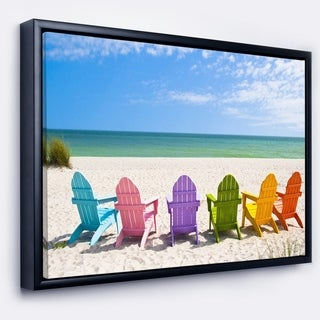 Designart 'Adirondack Beach Chairs' Seashore Photo Framed Canvas Art Print
