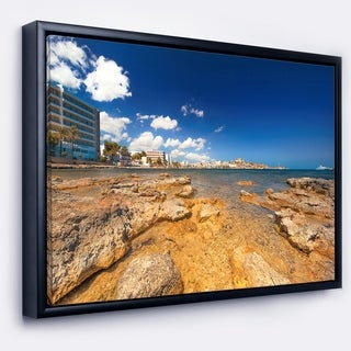 Designart 'Paradise Beach in Ibiza Island' Seashore Photo Framed Canvas Art Print