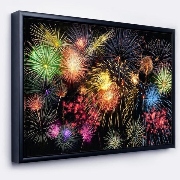 Designart 'Colorful Fireworks at Night Sky' Skyline Photography Framed Canvas Art