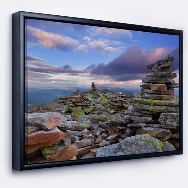Designart 'Piled Stones in Summer Mountains' Landscape Photography Framed Canvas Print