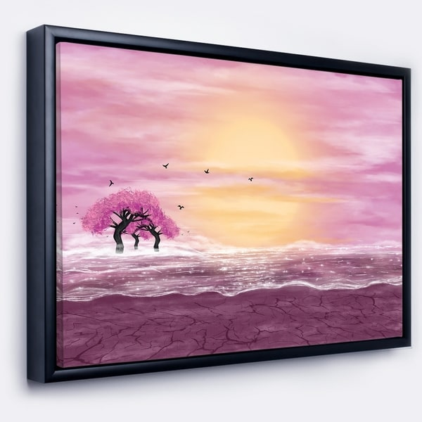 Designart 'Water and Pink Trees in Desert' Landscape Framed Canvas Art Print