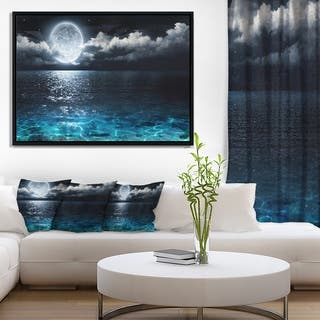 Designart 'Romantic Full Moon Over Sea' Seascape Framed Canvas Art Print