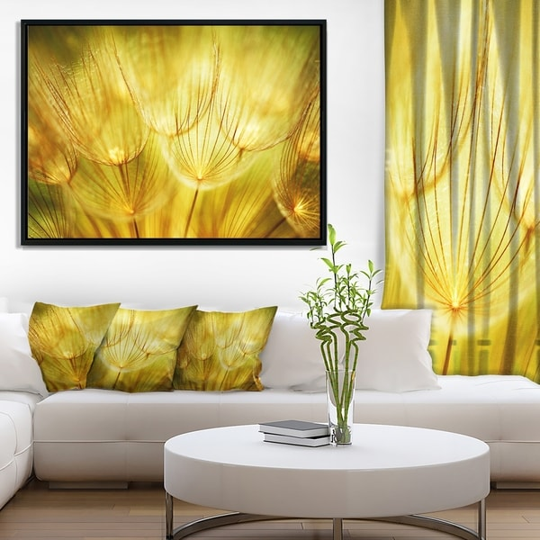 Designart 'Soft Yellow Dandelion Flowers' Floral Photography Framed Canvas Art