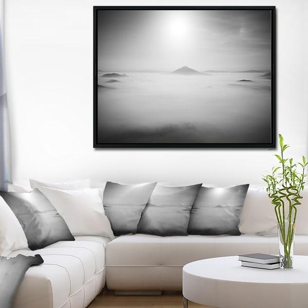 Designart 'Sandstone Hills and Peaks in Fog' Landscape Photography Framed Canvas Print
