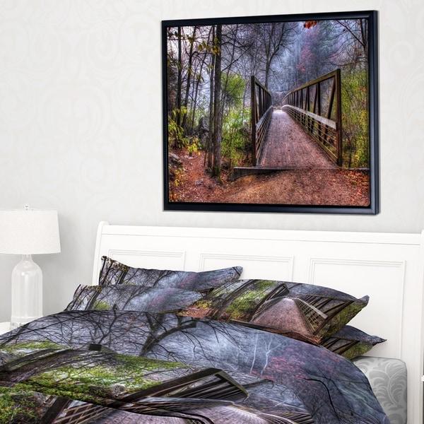 Designart 'Beautiful Bridge Over Creek' Landscape Photo Framed Canvas Art Print