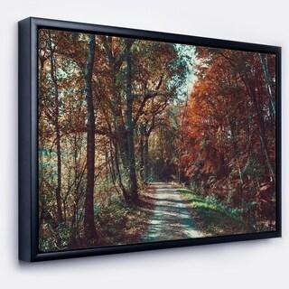 Designart 'Road Through Red Fall Forest' Landscape Photo Framed Canvas Art Print