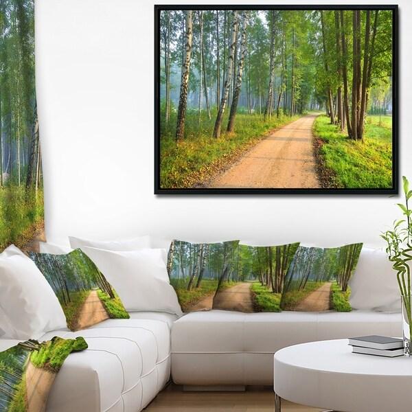 Designart 'Road in Green Morning Forest' Landscape Photo Framed Canvas Art Print