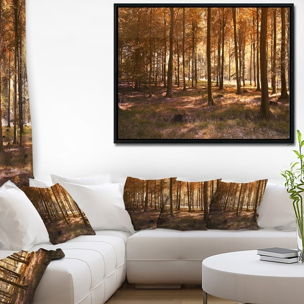 Designart 'Thick Fall Forest with Orange Leaves' Landscape Photography Framed Canvas Print