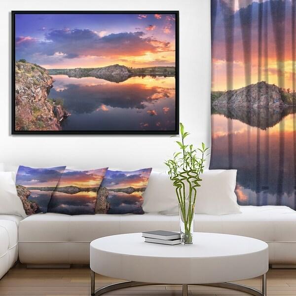 Designart 'Large Summer Clouds Reflection' Landscape Photography Framed Canvas Print