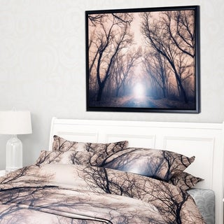 Designart 'Mysterious Sunlight in Forest' Landscape Photo Framed Canvas Art Print