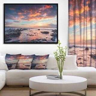 Designart 'Passero Cape Spring Sunrise' Seashore Photo Framed Canvas Art Print