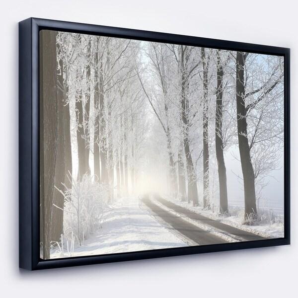 Designart 'Winter Lane in Foggy Morning' Landscape Photo Framed Canvas Art Print