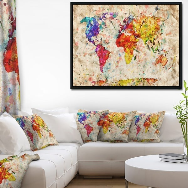 Designart 'Vintage World Map Watercolor' Map Framed Canvas Art Print