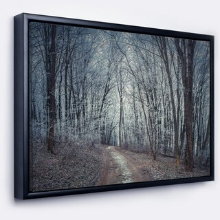 Designart 'Dense Gray Fall Forest Path' Landscape Photo Framed Canvas Art Print