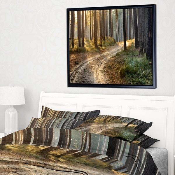 Designart 'Road in Thick Morning Forest' Landscape Photo Framed Canvas Art Print