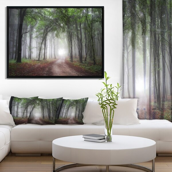 Designart 'Light Through Green Fall Forest' Landscape Photography Framed Canvas Print