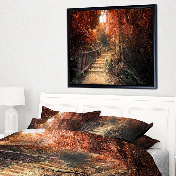 Designart 'Stairway Through Red Fall Forest' Landscape Photography Framed Canvas Print