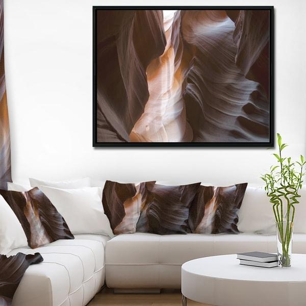 Designart 'Brown Antelope Canyon' Landscape Photography Framed Canvas Print
