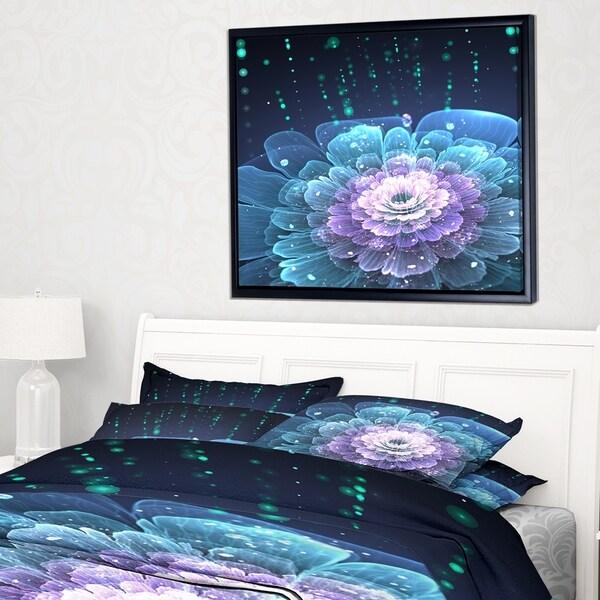 Designart 'Fractal Flower with Water Drops' Floral Art Framed Canvas Print
