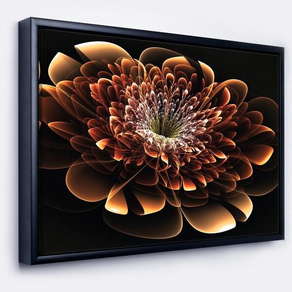 Designart 'Brown Fractal Flower' Modern Floral Framed Canvas Art Print